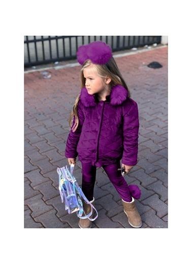 Quzucuk Kids Kız Çocuk Kadife Mor Takım Renkli